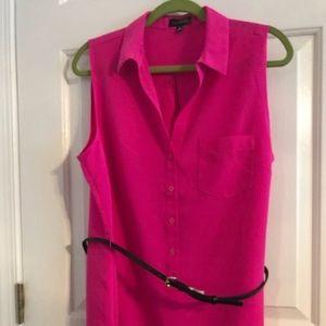 Limited XL hot pink belted shirtdress